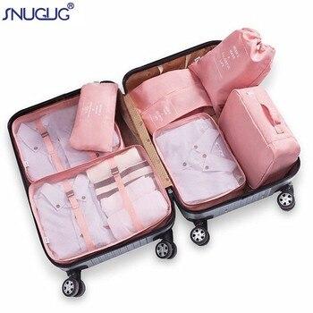 Conjunto de 7 bolsas organizadoras para equipaje, accesorios de viaje impermeables de gran tamaño, organizador de cubos de embalaje de poliéster para bolsas de almacenamiento de ropa
