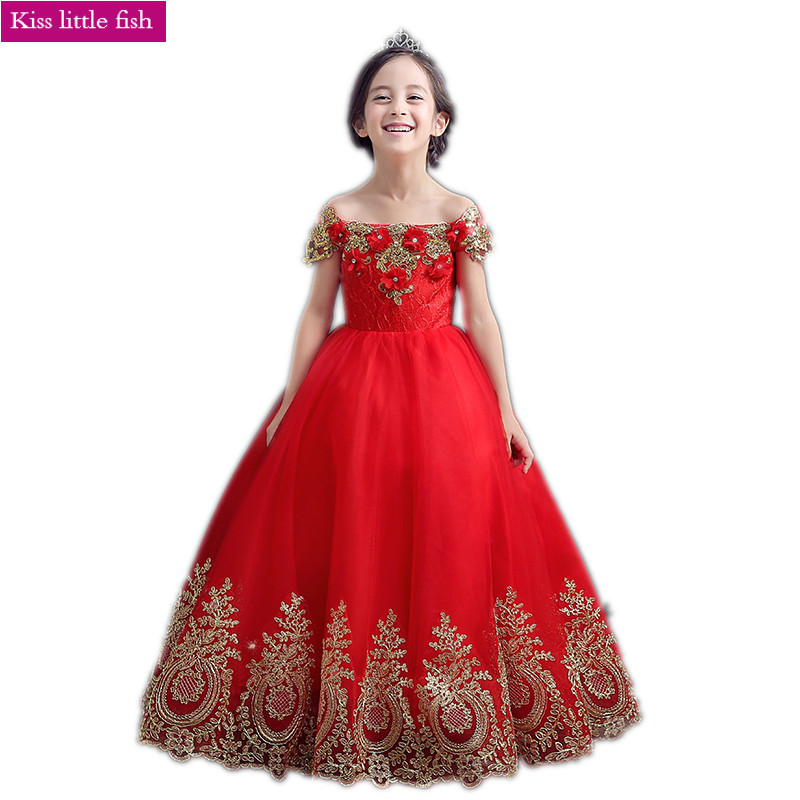 Free shipping Red Lace long flower girl dresses robe fille enfant mariage de soiree Girls pageant