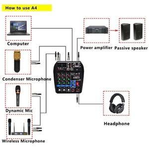 Image 5 - האיחוד האירופי Plug A4 קול ערבוב קונסולת Bluetooth Usb מחשב שיא השמעה 48V פנטום כוח עיכוב Repaeat אפקט 4 ערוצים usb