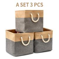 3 Pack 33CM Square Cotton Linen Storage Basket With Cotton Rope Toys Storage Box Home Storage Compartment