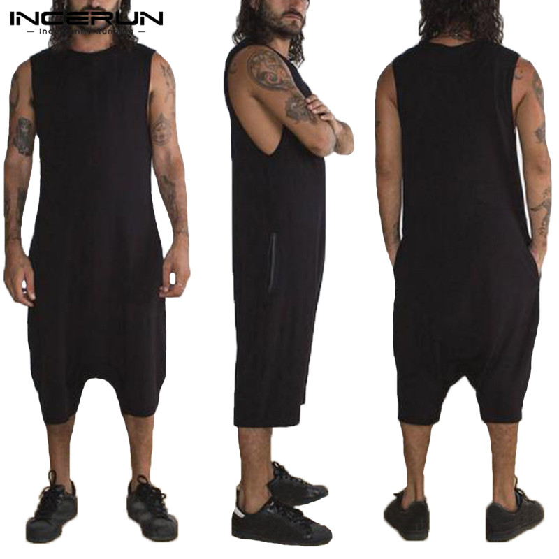 Hiphop Baggy Jumpsuit Men Set Rompers Overalls Sleeveless Solid Overalls Suits Hombre Rompers Overalls Joggers Fashion Clothes