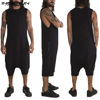 цена Hiphop Baggy Jumpsuit Men Set Rompers Overalls Sleeveless Solid Overalls Suits Hombre Rompers Overalls Joggers Fashion Clothes онлайн в 2017 году