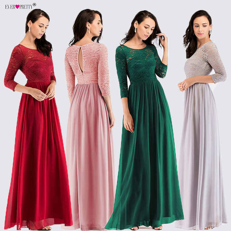 6b3ec5dd28 Plus Size Long Sleeve Evening Dresses 2018 Ever Pretty EZ07680 Elegant A  Line Lace Chiffon Pink