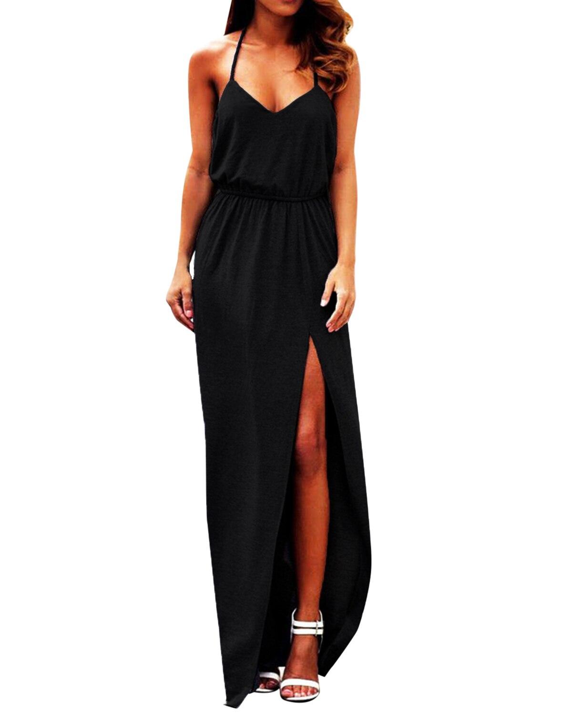 Для женщин Спагетти ремень макси длинные платья Сексуальная V шеи 2019 летние без рукавов разрез до талии Вечерние платья с лямкой на шее