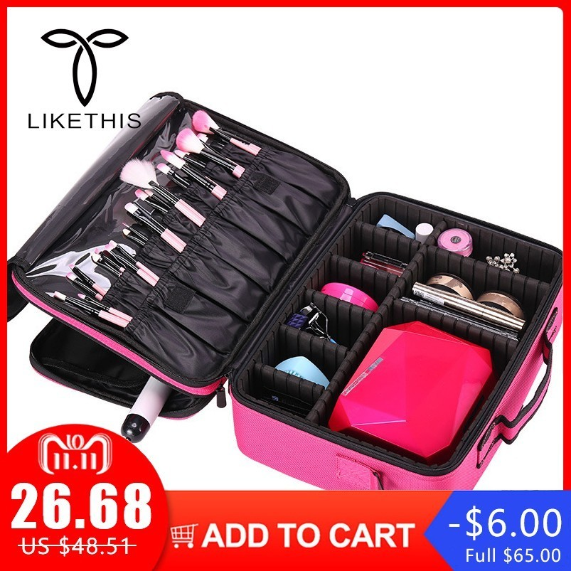 Brand Organizer Travel Fashion Lady Cosmetics Cosmetic Bag Beautician Storage Bags Large Capacity Women Makeup Bag usb male to micro usb male flat charging cable pink white 20cm