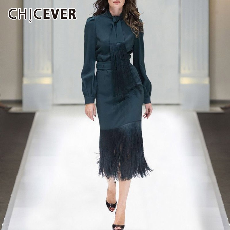 CHICEVER Spring Women Two Piece Suit Lace Up Collar Long Sleeve Top Clothing With High Waist
