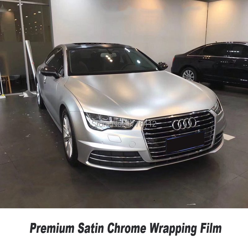 Premium Satin Chrome Silver Vinyl Wrap Car Wrapping Film For Vehicle styling With air bubble Free high end