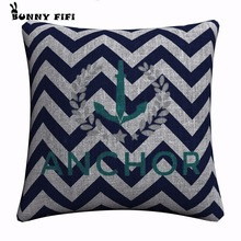 Blue Anchor Pattern Decorative Pillow Covers For Sofa Home Decor Linen Cushion Case 45x45cm Throw Cases