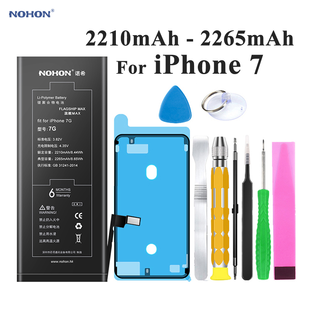 Nohon Battery For iPhone 7 Apple iPhone7 2210 2265mAh Built in Replacement Li polymer Batteries Tools