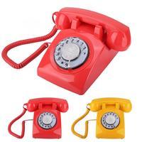 Simple & Classic Cordless Phone Retro Rotary Dial Telephone Vintage Landline Telephone Desk Telephone Portable Phone