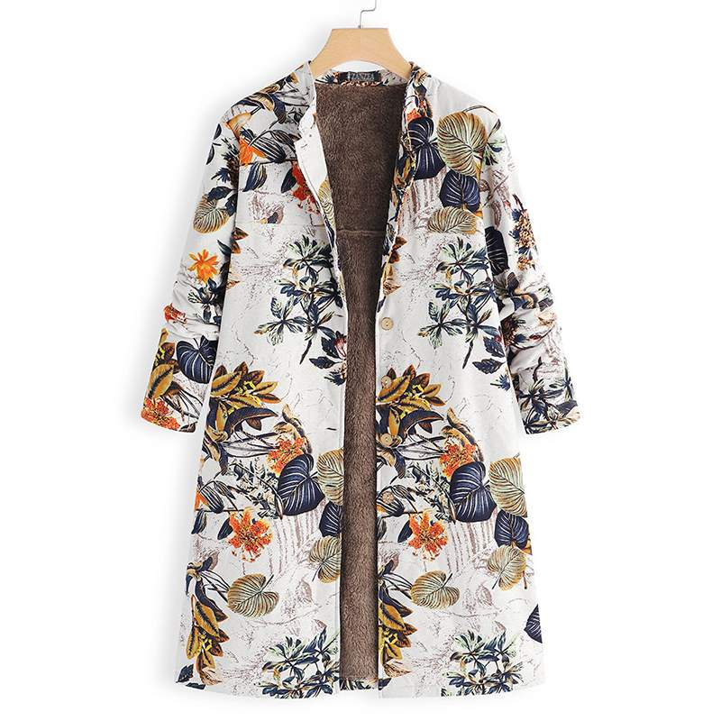 Womens Jackets Vintage Floral Printed Coats Women Fleece Jackets 2018 Winter Long Sleeve Outerwear Button Down Casaco Overcoat
