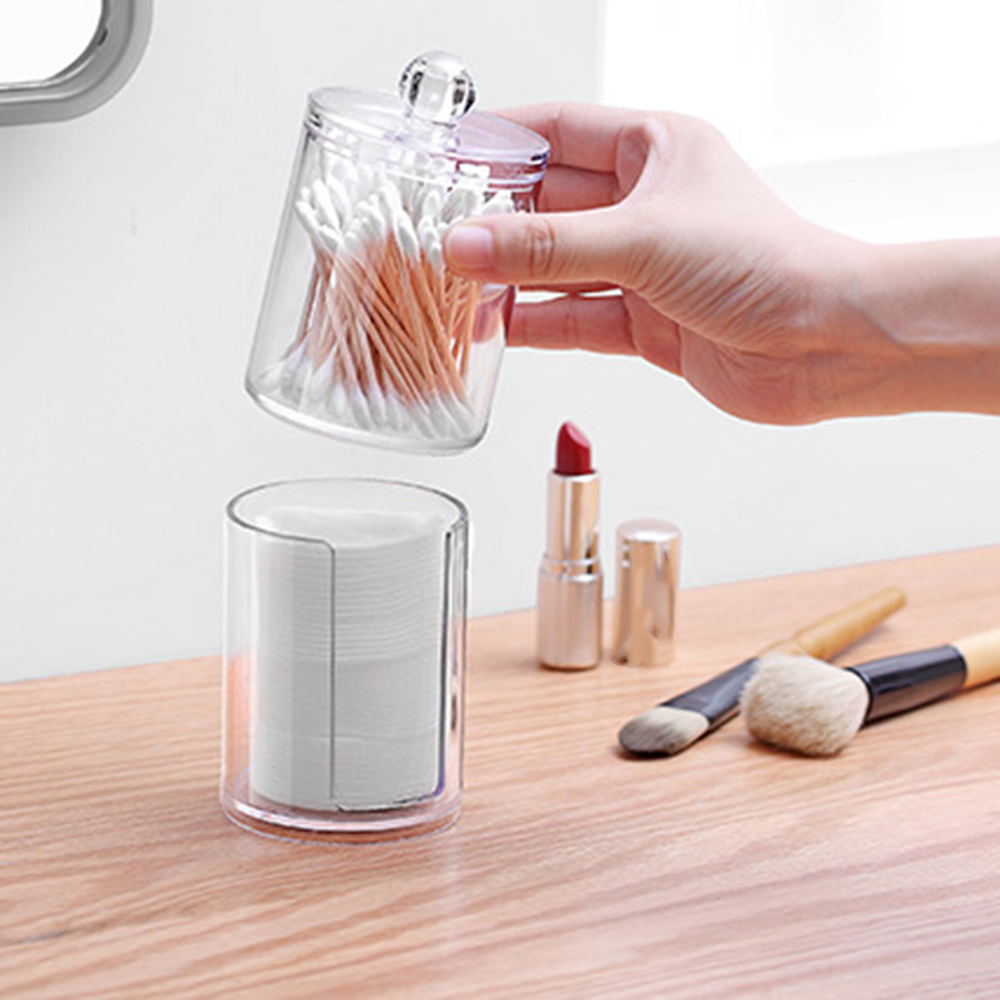 2019 New Acrylic Plastic Container Cosmetic Makeup Organizer Cotton Swabs Cotton Pad Holder Transparent Bathroom Storage Box