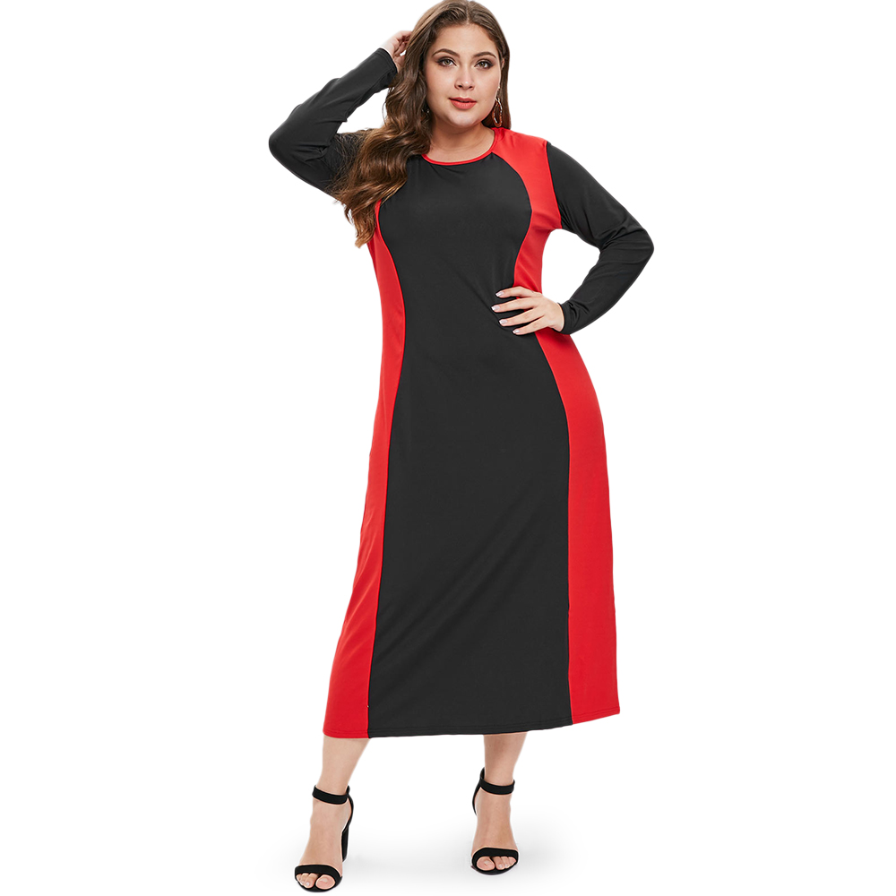 Fall Winter Women Plus Size Bodycon Dress Mid Calf Ankle ...