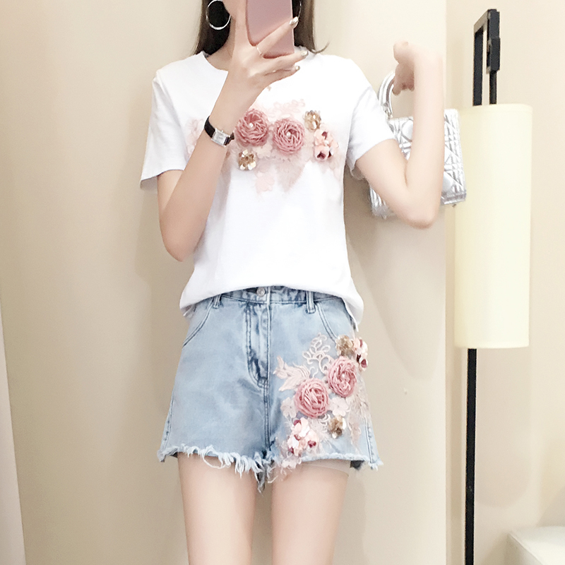 Summer Sweet Short Sleeve T shirts + Fringed Denim Short Pant Set Women 3d Floral Embroidery Cotton T Shirts Jeans Suit 2pcs Set