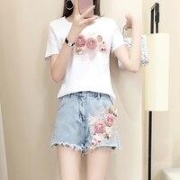 Summer Sweet Short Sleeve T shirts + Fringed Denim Short Pant Set Women 3d Floral Embroidery Cotton T Shirts Jeans Suit 2pcs Set