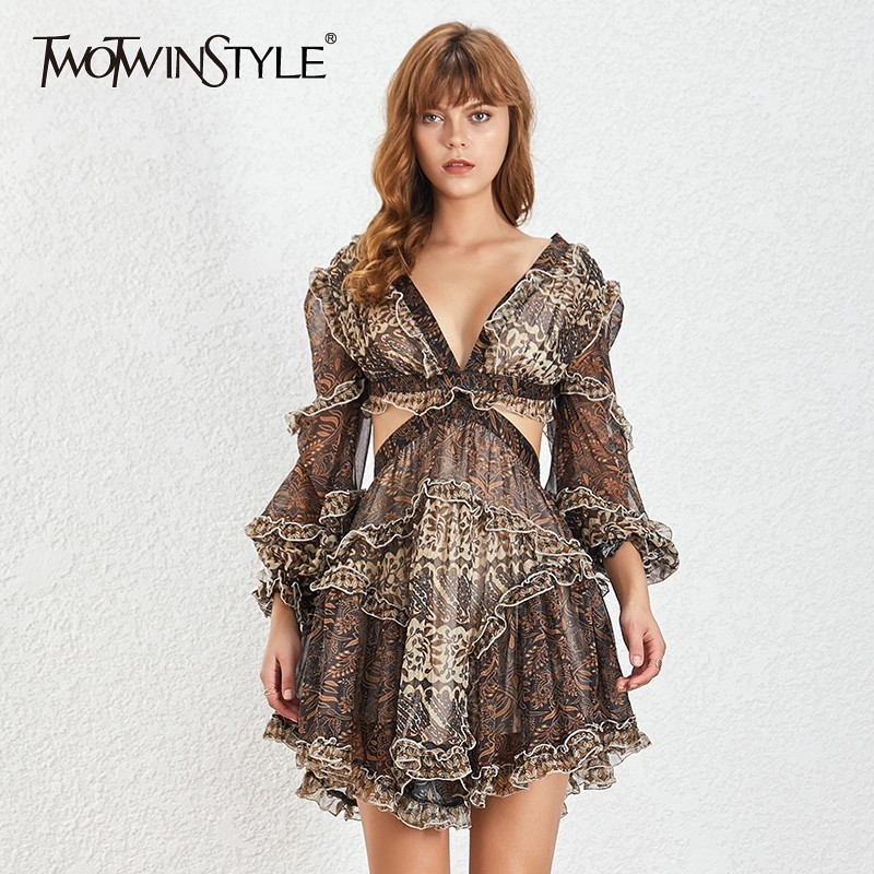 TWOTWINSTYLE Vintage A Line Print Dress For Women V Neck Lantern Sleeve Hollow Out Mini Dresses