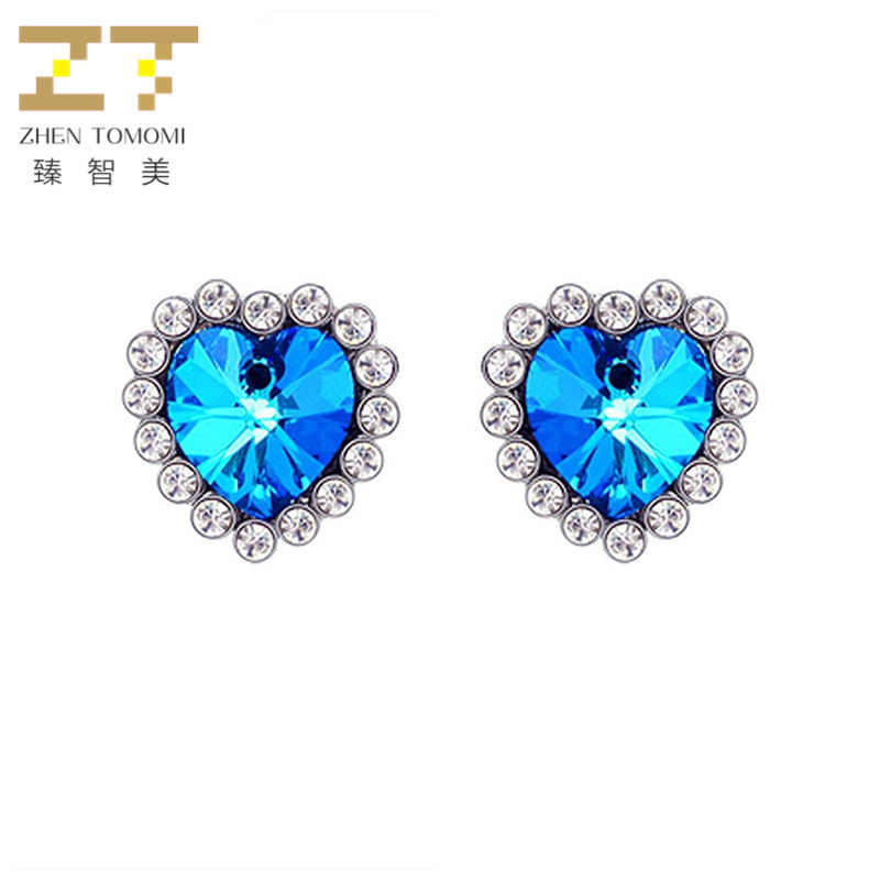 2019 Hot Women's Fashion Blue Crystal Heart Earrings Bridal Wedding Titanic Heart of Ocean Stud Earrings For Women Jewelry