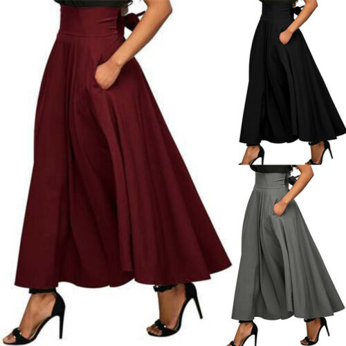 Skirt Autumn Skater Flared Stretch Pleated Plain Vintage High-Waist Solid-Color Hot