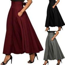 Vintage Frauen Röcke Hohe Taille Einfarbig Gefaltetes Festes Farbe Stretch Plain Skater Ausgestelltes Plissee Lange Rock Herbst Frauen Heißer