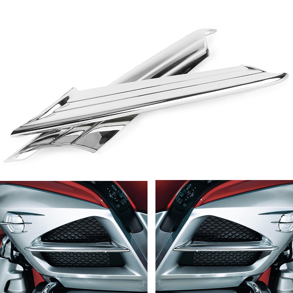 Goldwing GL1800 Chrome Motorcycle Side Vent Fairing Fins Scoop Accents Trim Cover For Honda 2012 2013 2014 2015 2016 2017