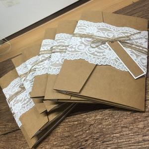Image 2 - 100sets Elegant laser cut handmade vintage wedding invitation card luxury invitations with envelop and lace