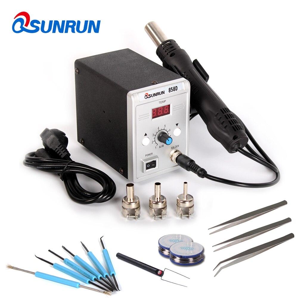 Qsunrun 858D 858D + 700 Вт паяльная светодио дный светодиодный цифровой припой паяльная станция BGA переделка спайки станция горячего воздуха пистоле...