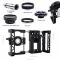Telefoon Mount Houder Stabilizer Grip Kooi Systeem + camera photo Filter + Telescoop + Macro Groothoek Fisheye Lens Voor samsung Voor LG