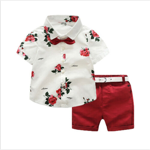 Brand New Floral Baby Boy Gentleman Outfits Suit Short Sleeve Toddler Bow Tie Shirt Tops+Red Shorts Summer Set Kids Clothes 1-7T