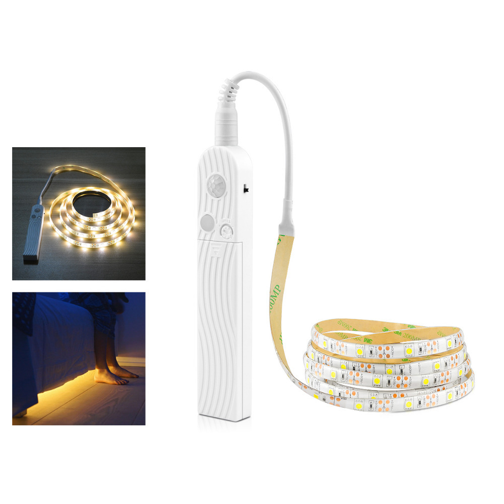 1m 2m 3m Wireless Motion Sensor Led Strip Smd5050 30leds/m Flexible String For Cabinet Kitchen Bedroom Aaa Battery Operated|Under Cabinet Lights| |  - title=