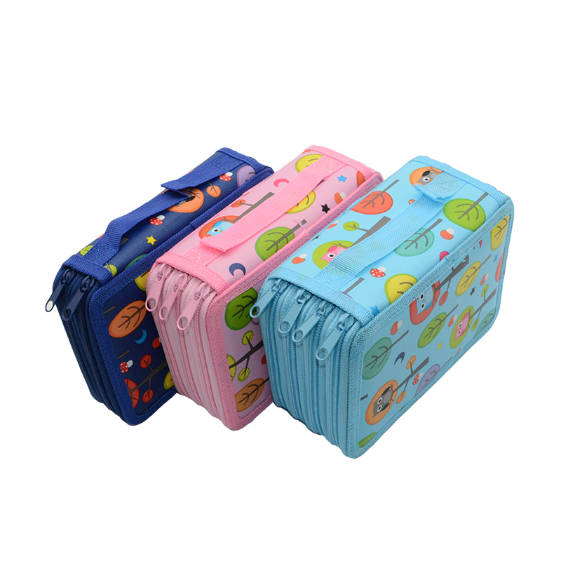 36/48/72 Hole Pencil Case Owl Kalem Kutusu Cartoon Estuche Escolar Kawai Material Escolar Papelaria Astuccio Scuola Pen Case