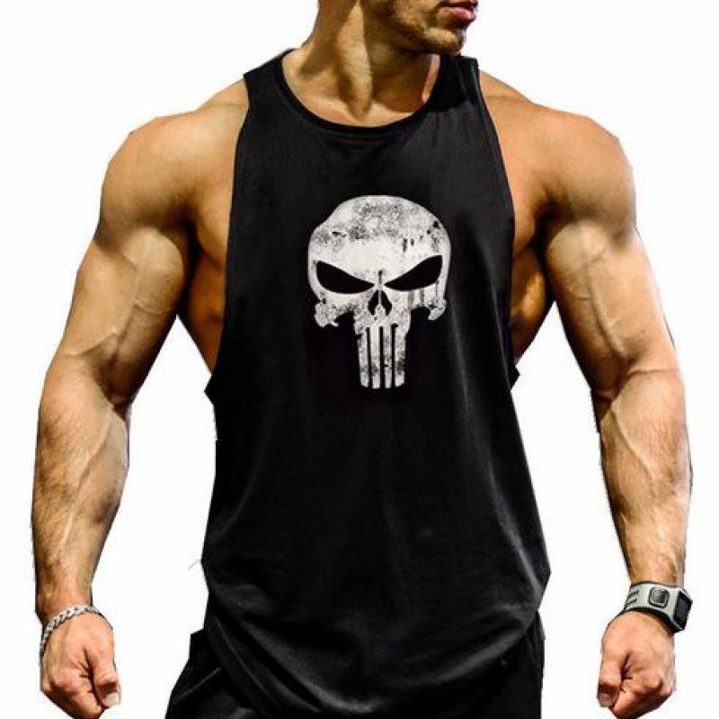 Skull Bodybuilding Fitness Stringer Men's   Tank     Top   gym Bodybuilding Fitness Stringer Sportwears