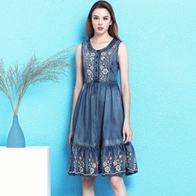 Nordic winds embroidery sleeveless vest denim dress female vintage fashion slimming sexy large swing summer NW19B6072