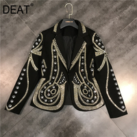 DEAT 2019 New Spring Turn down Collar Full Sleeves Metal Beaded No Buttons Short Jacket Female Single Suit WF18501L Black