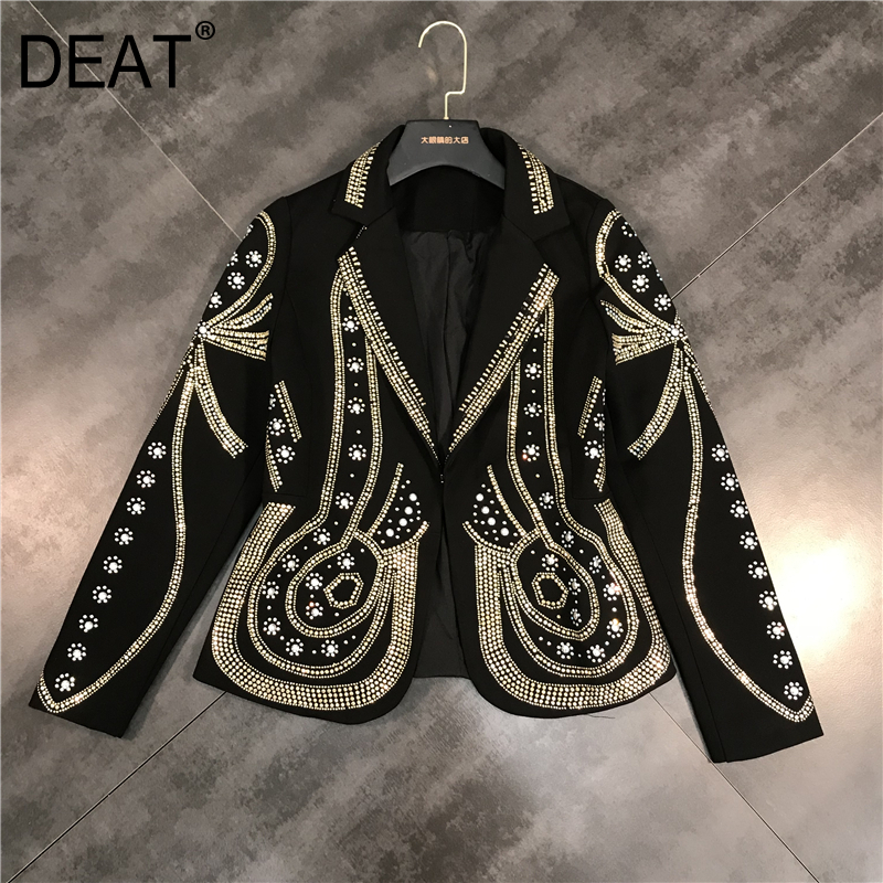 DEAT 2020 New Spring Turn-down Collar Full Sleeves Metal <font><b>Beaded</b></font> No Buttons Short <font><b>Jacket</b></font> Female Single Suit WF18501L <font><b>Black</b></font> image