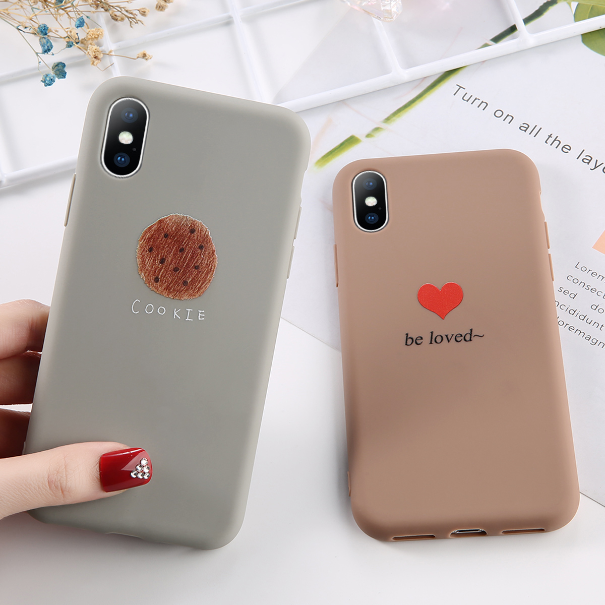 Sweet Love Heart Phone Case For iPhone 7 8 Plus Delicious Bread Cases For iPhone XR XS Max 7 6 6S Plus Soft TPU Silicone Cover in Fitted Cases from Cellphones Telecommunications