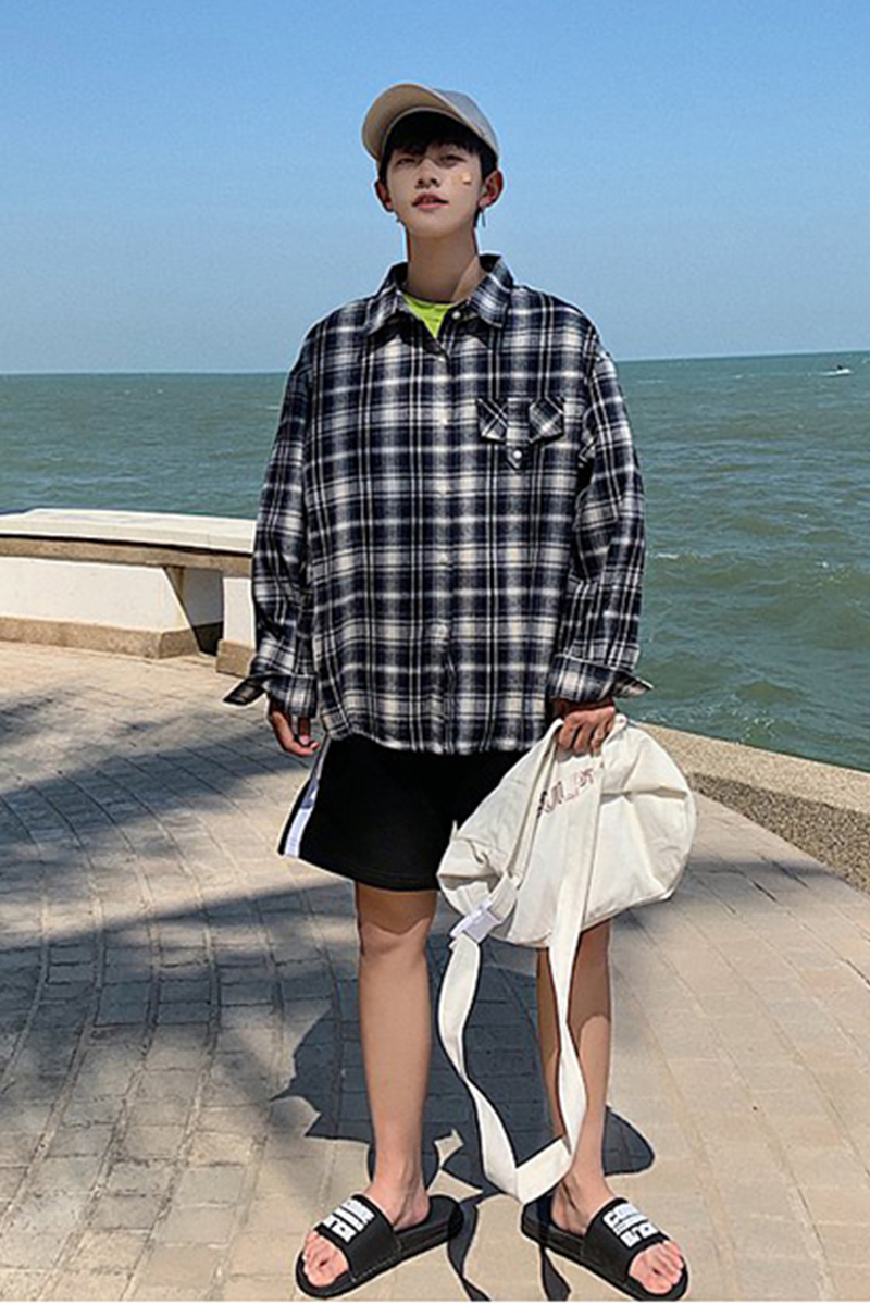 2019 Fashion leisure Best The new listing plaid shirt Thin Long male retro literary cardigan youth blue streetwear Free shipping in Casual Shirts from Men 39 s Clothing