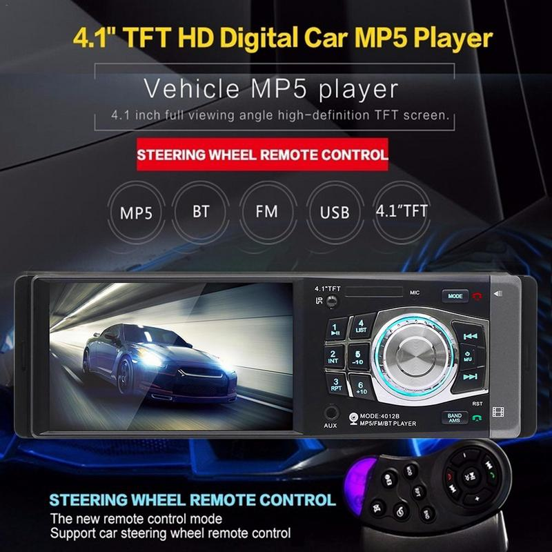 4.1 Inch 1 DIN Car MP5 Player Bluetooth FM Transmitter Radio Stereo Head Unit with Remote Control Can be Connected to Camera