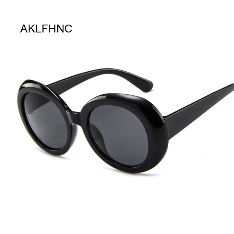 Style Oval Sunglasses Women Vintage Retro Round Frame White Black Sun Glasses Red Hip Hop Clear Glasses UV400