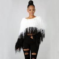 Women Solid Cropped Sweater Winter Tassel Knitted Mohair Sweater Shaggy Yarn Jumper Pullovers Sweater Thick Tops