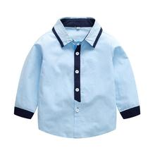 VTOM Baby Boys Shirts New Arrival Kids Clothes Baby Blue Cotton Shirts Children Clothing Long-sleeved Shirt For Kids Wear XN60 new boys shirt for kids cotton clothing 2018 fashion new baby boy plaid shirts long sleeve england school trend children clothes