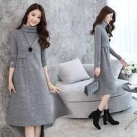 2018 Autumn New Women Bottom Fashion Party Dresses Wool Blend Turtleneck Long Sleeve Winter Dress