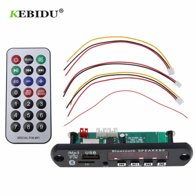 Kebidu 5-12V USB TF di FM Radio Decoder Lettore Senza Fili Bluetooth 4.1 Audio Consiglio Modulo MP3 LED MP3 scheda di decodifica AUX per Auto Kit