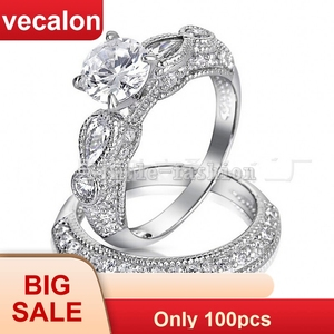 Vecalon 2016 Brand Antique Engagement wedding Band ring Set for women 5A Zircon cz ring 925 Sterling Silver Female Finger ring
