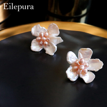 Eilepura Natural Fresh Water Baroque Pearl Amazonite Flower 925 Sterling Silver Stud Earring For Women Fine Jewel E-A028