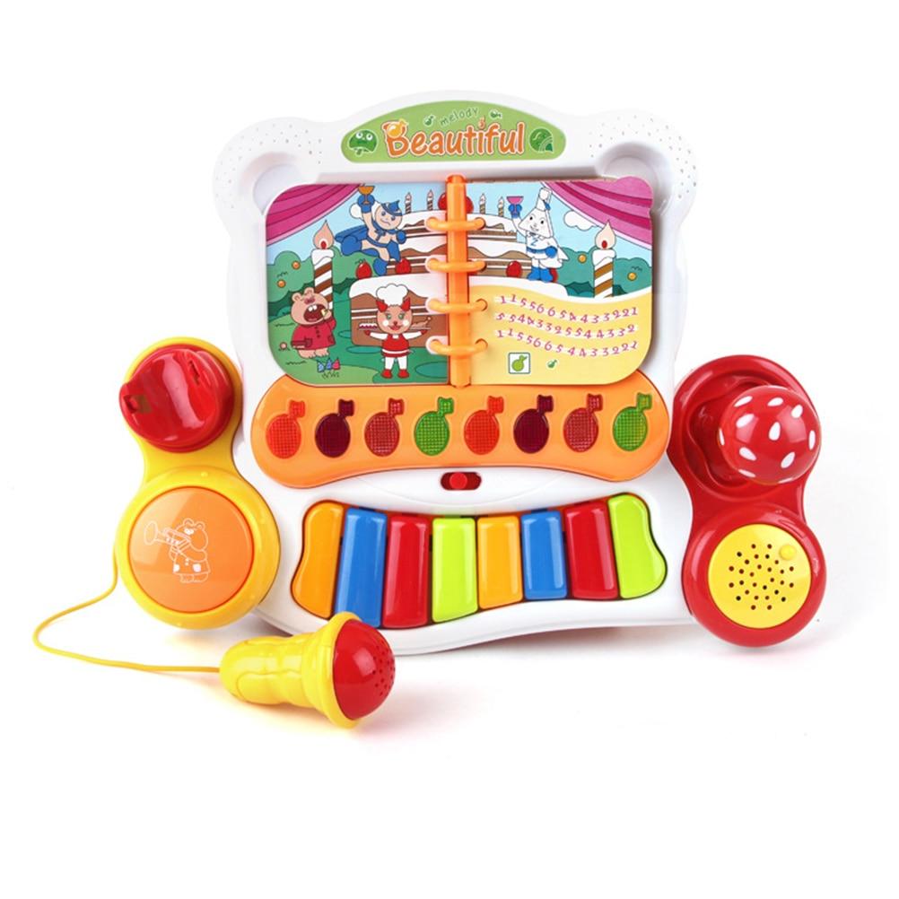 Bébé développement Instrument de musique dessin animé jouet multifonctionnel clavier éducatif Piano jouet Musical avec Microphone et lumière