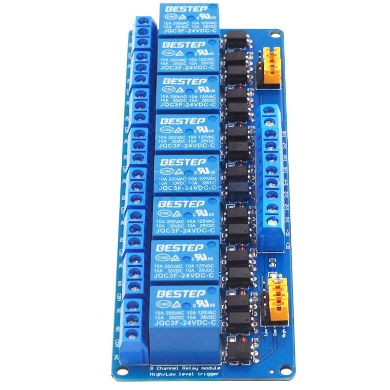 8 Channel Relay Bring Both Light Coupling Isolation Modular Support High Low Level Trigger 3v5v12v24v Module Best Sellers