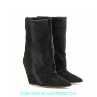 Модные женские ботинки на танкетке из конского волоса, ботильоны на высоком каблуке с острым носком на меху, весенне зимняя женская обувь, б