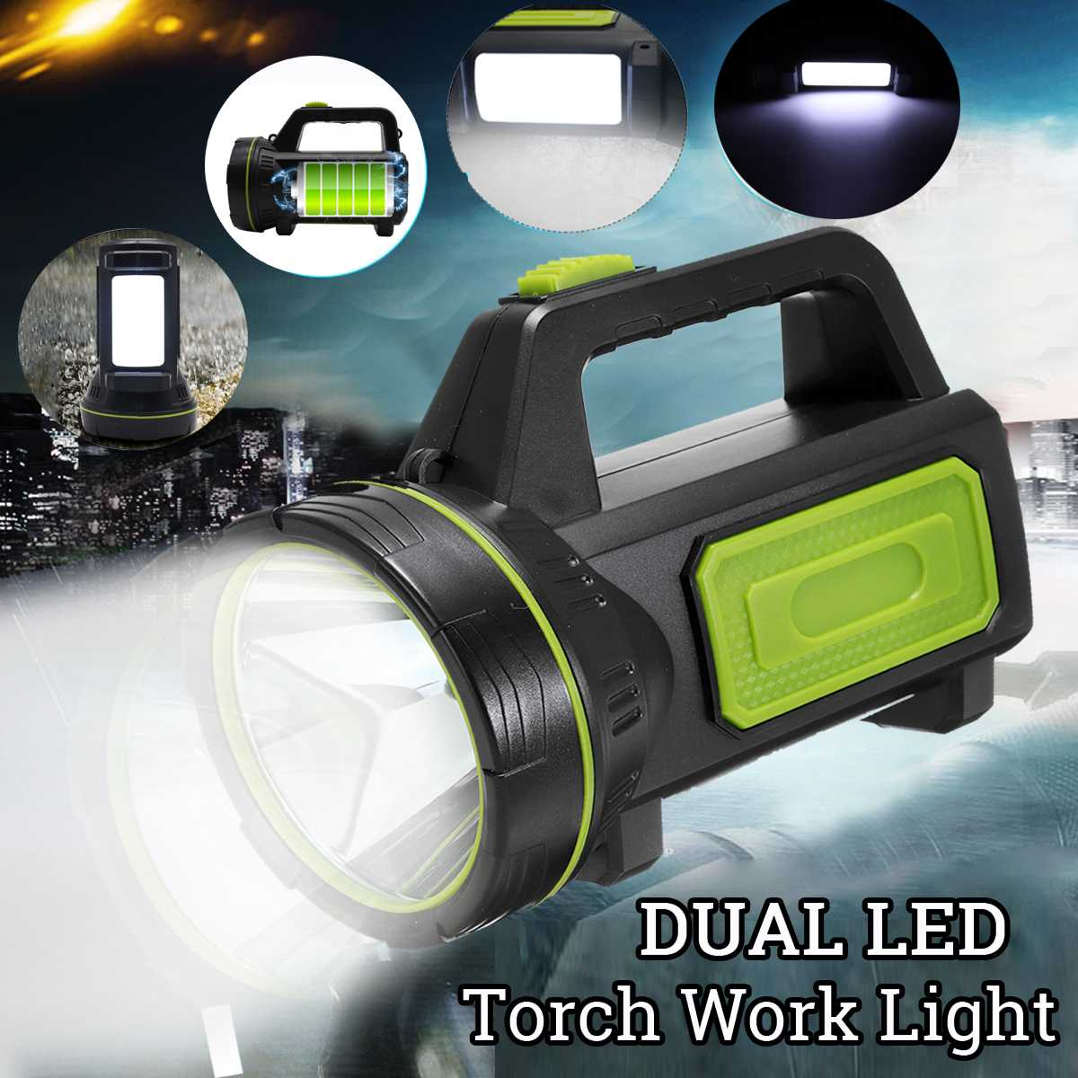 Dual LED High Power USB Rechargeable Torch Candle Work Light Camping Lamp