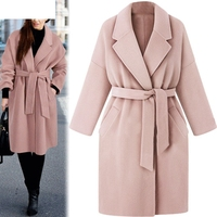 2019 New Fashion Warm Winter Clothes Womens Lapel Wool Coat Trench Jacket Loose Lace Overcoat Outwear