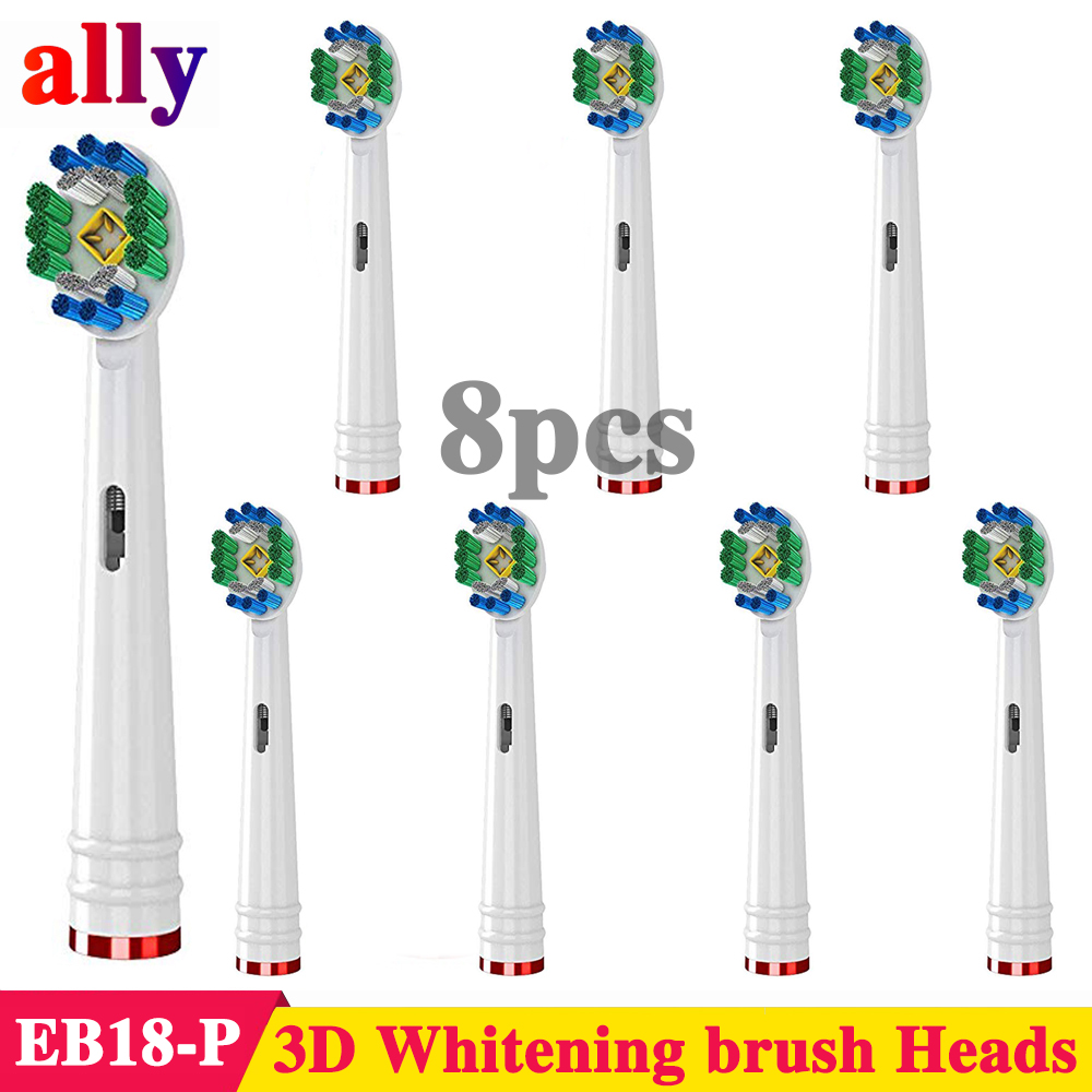8X 3D Whitening Electric toothbrush heads Replacement For Braun Oral B Vitality Triumph D32 D25 Electric Toothbrush Heads image